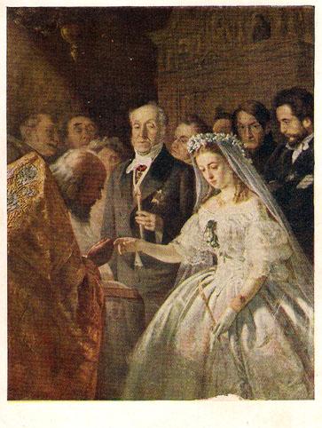 Почтовая открытка «Неравный брак» - 1958г., СССР
