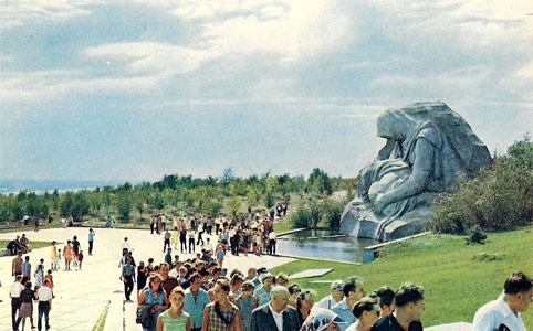 Почтовая открытка «Мамаев курган. Скульптура «Скорбь матери» - 1968г., СССР