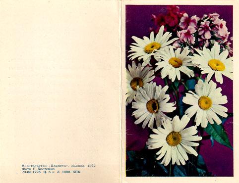 Почтовая открытка «Цветы» - 1972г., СССР