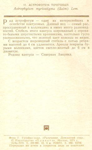 Почтовая открытка «Астрофитум точечный» - 1974г., СССР