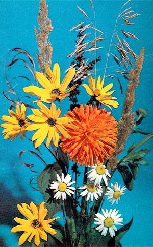 Почтовая открытка «Композиция из цветов» - 1975г., СССР